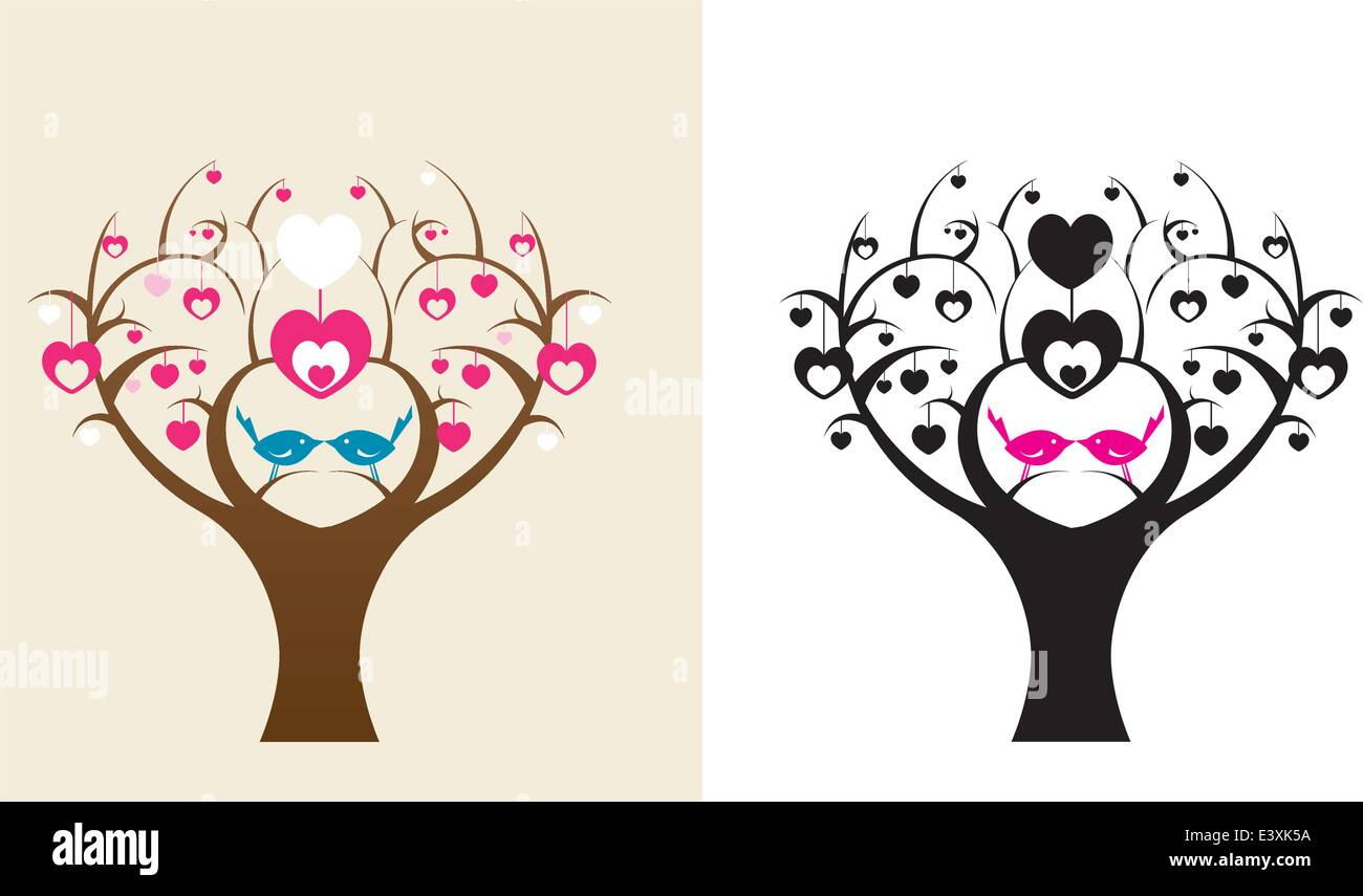 a pair of love biirds in a stylised tree - Stock Vector
