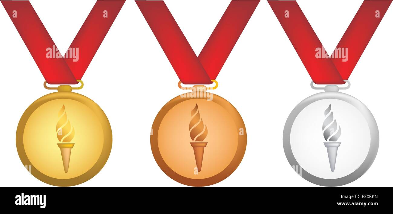 simple icon style illustration of olympic medals - Stock Vector