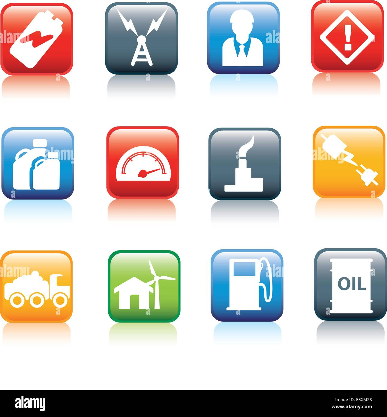icon series for energy and powel and fuel industries - Stock Vector