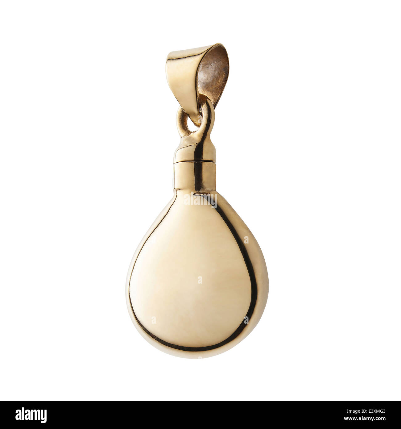 Pendant silver and gold, locket lockets. tear drop shape jewelery. on white background. - Stock Image