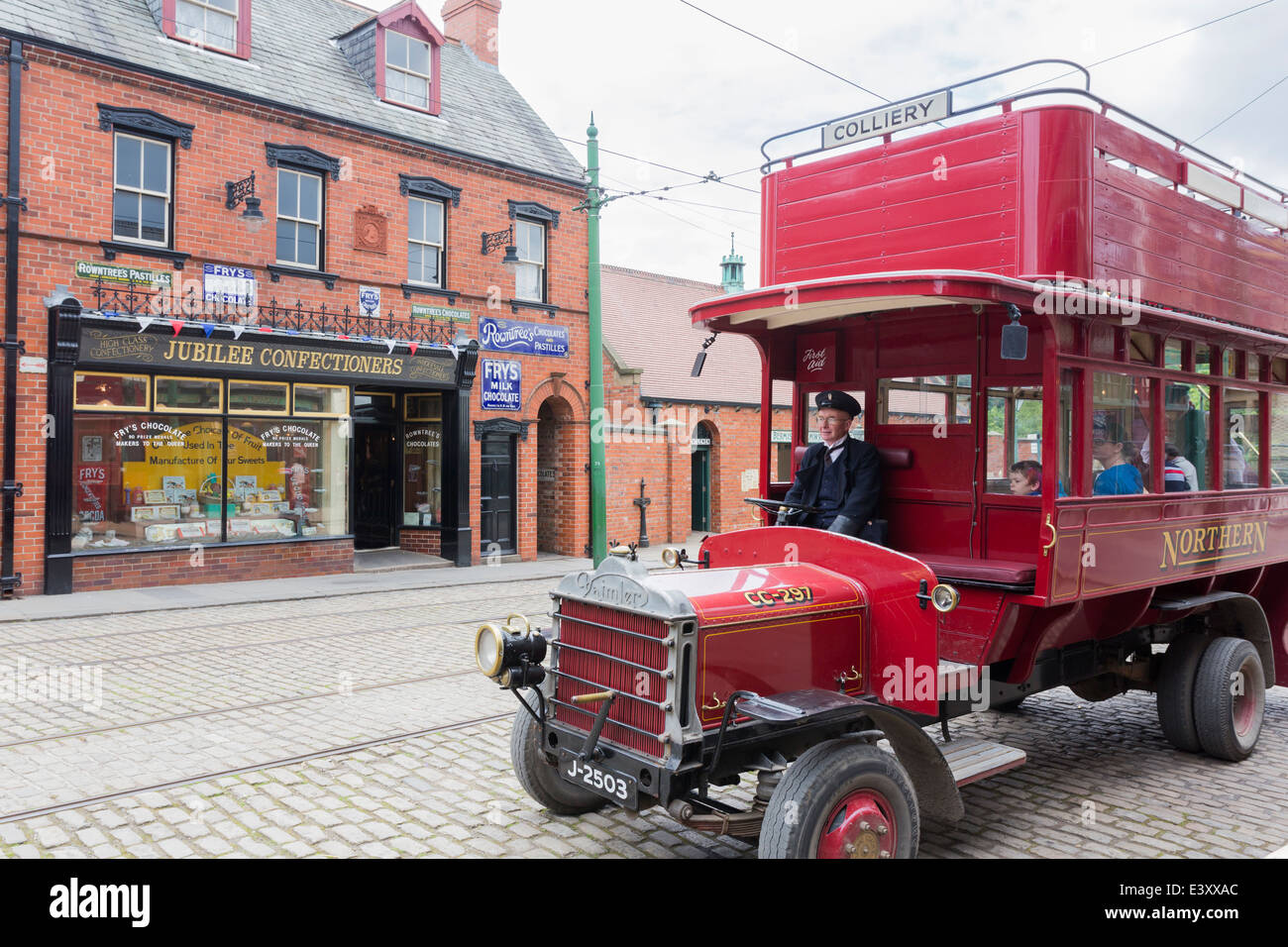Open Top Double Decker Bus at Beamish Living Open Air Museum - Stock Image