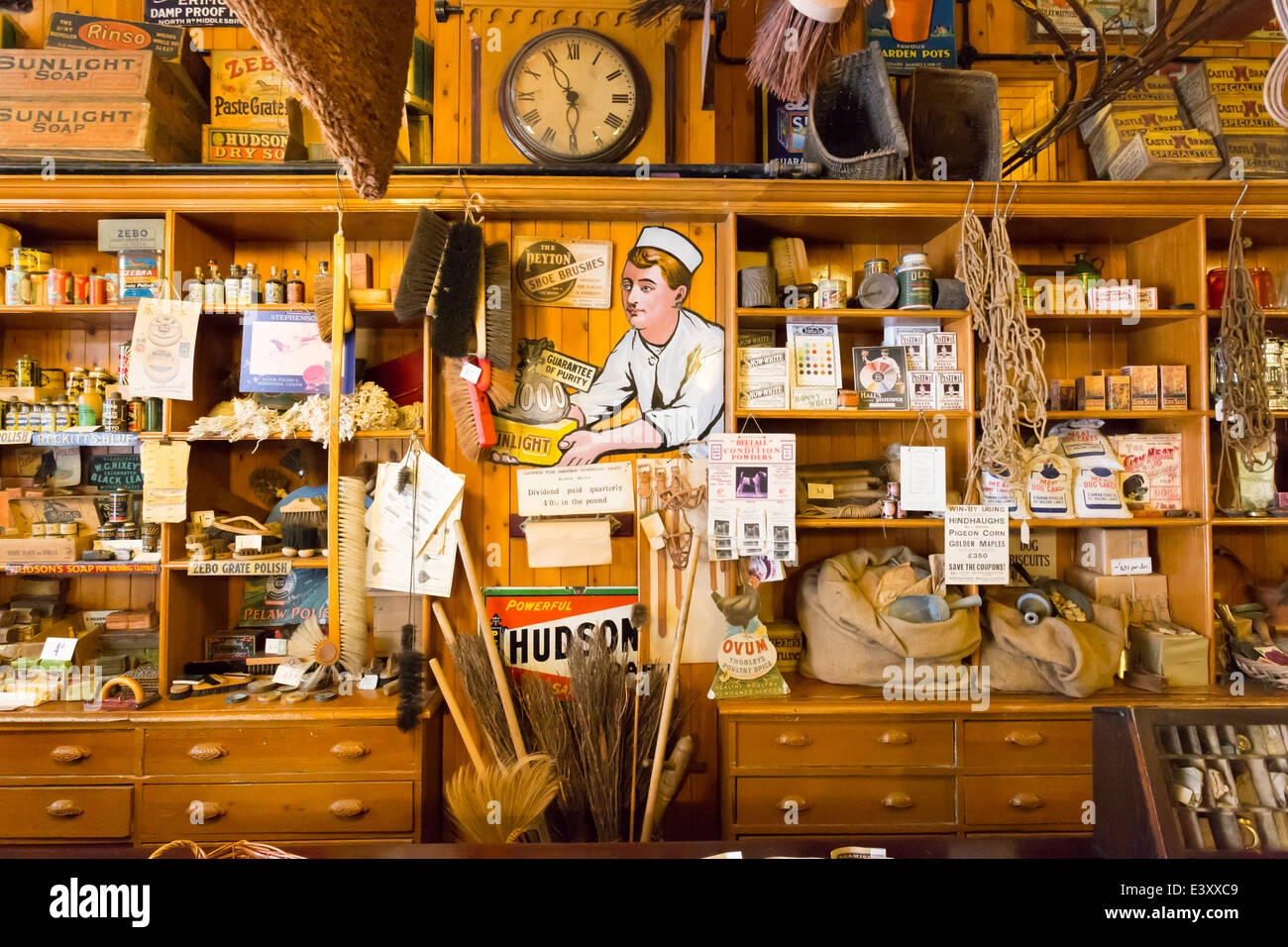 Interior of Hardware Store Beamish Living Open Air Museum - Stock Image