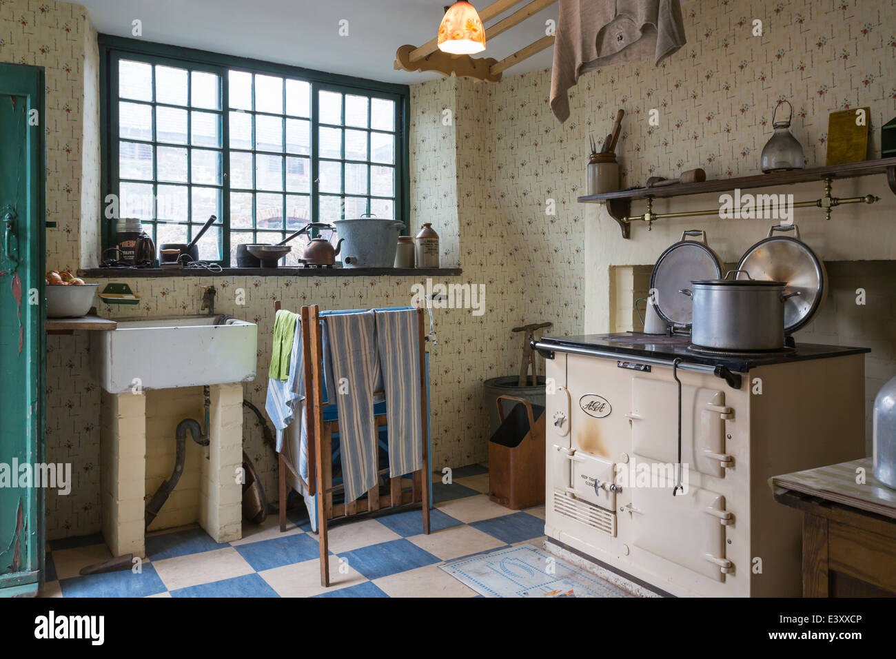 Exceptional Old Fashioned Farm Kitchen Beamish Living Open Air Museum   Stock Image