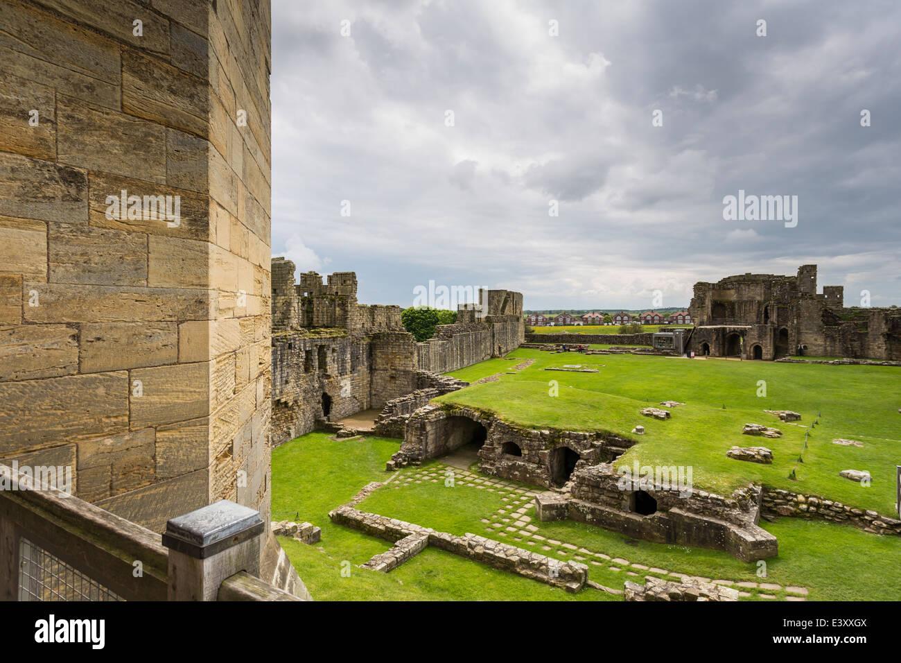 Warkworth Castle under Dark Skies - Stock Image