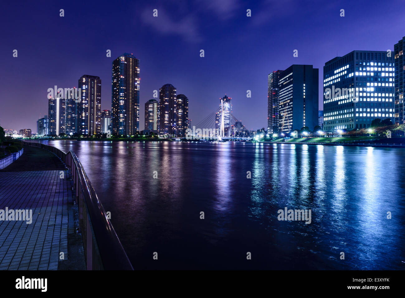 Silhouette of Tokyo skyline lit up at night, Tokyo, Japan - Stock Image