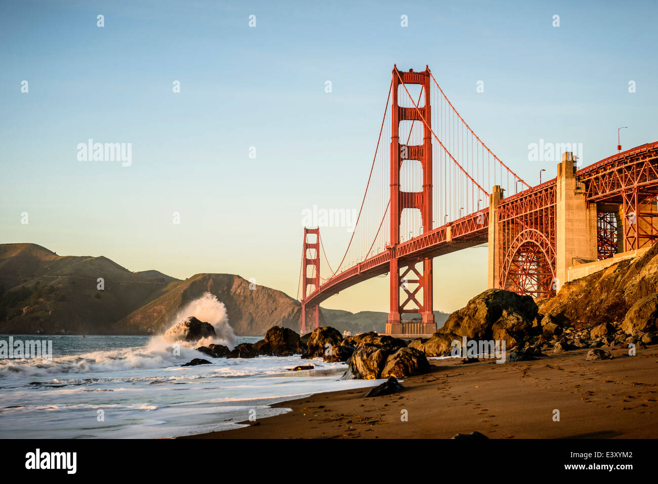View of Golden Gate Bridge from beach, San Francisco, California, United States - Stock Image