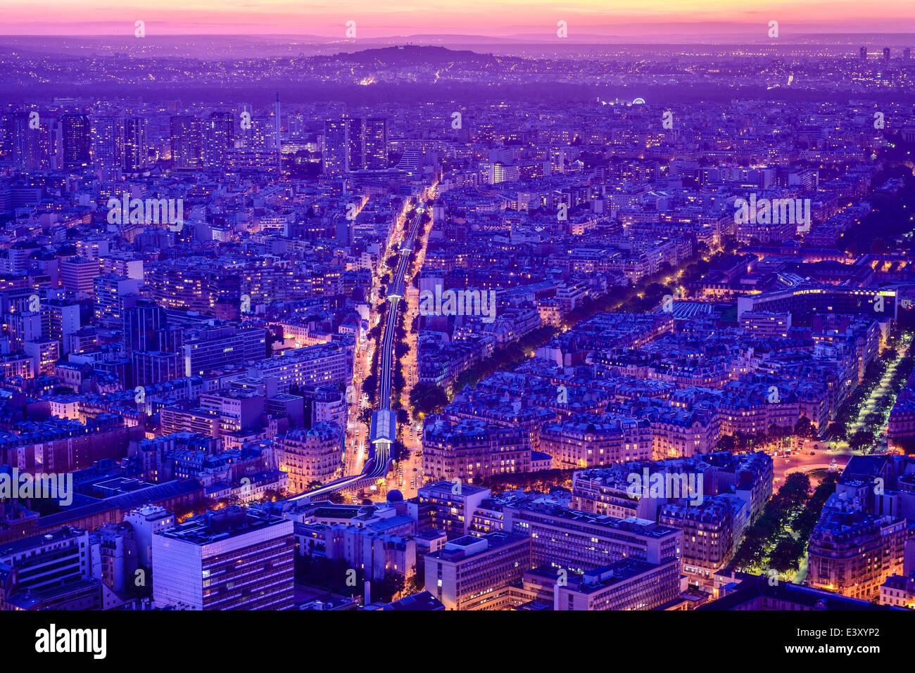 Aerial view of Paris cityscape at night, Paris, Ile de France, France - Stock Image