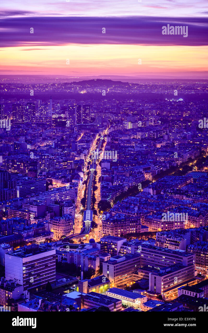 Aerial view of Paris cityscape at night, Paris, Ile de France, France - Stock Image
