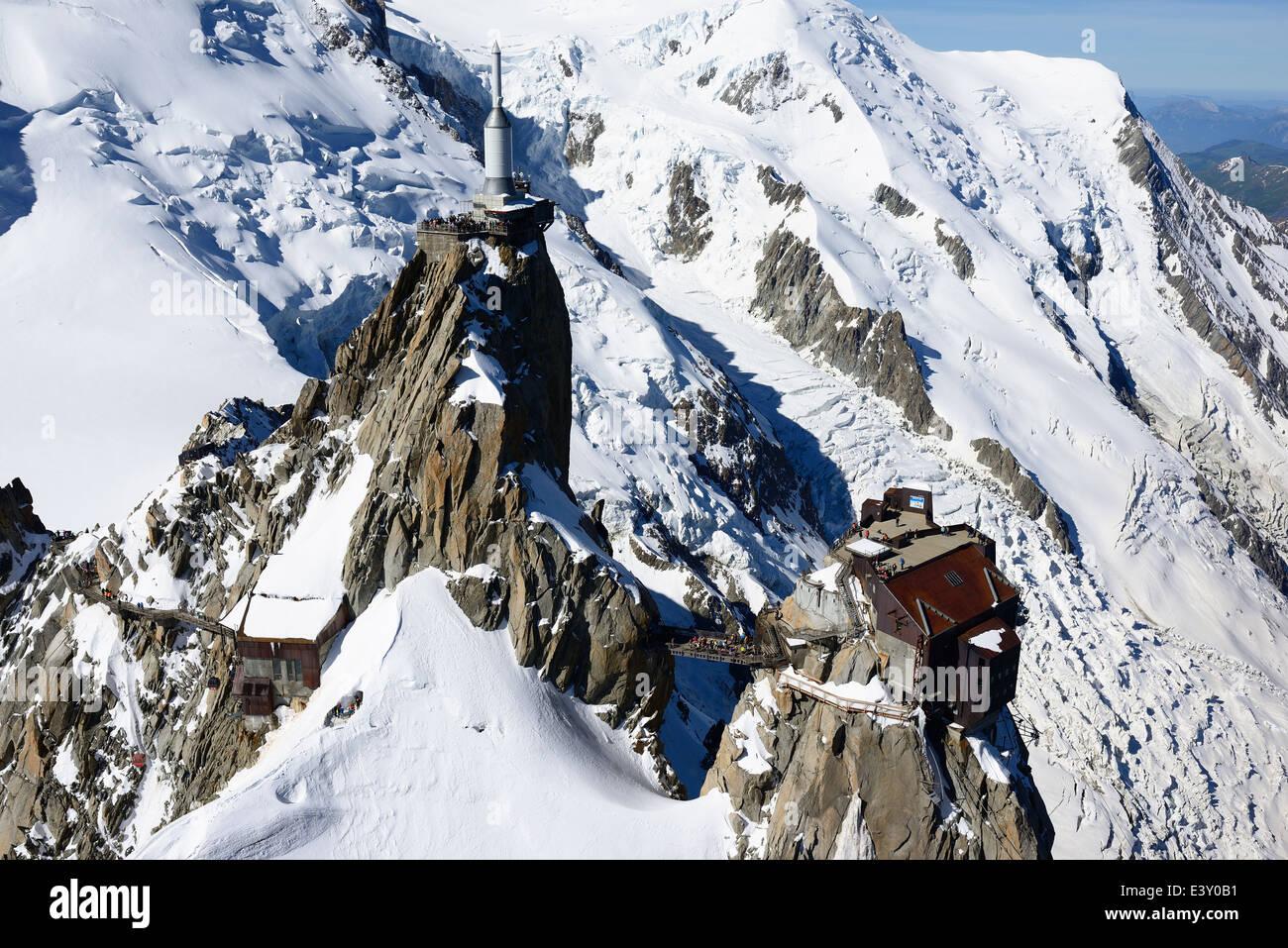 AIGUILLE DU MIDI (3842m amsl) (aerial view). Chamonix Mont-Blanc, Haute-Savoie, France. - Stock Image