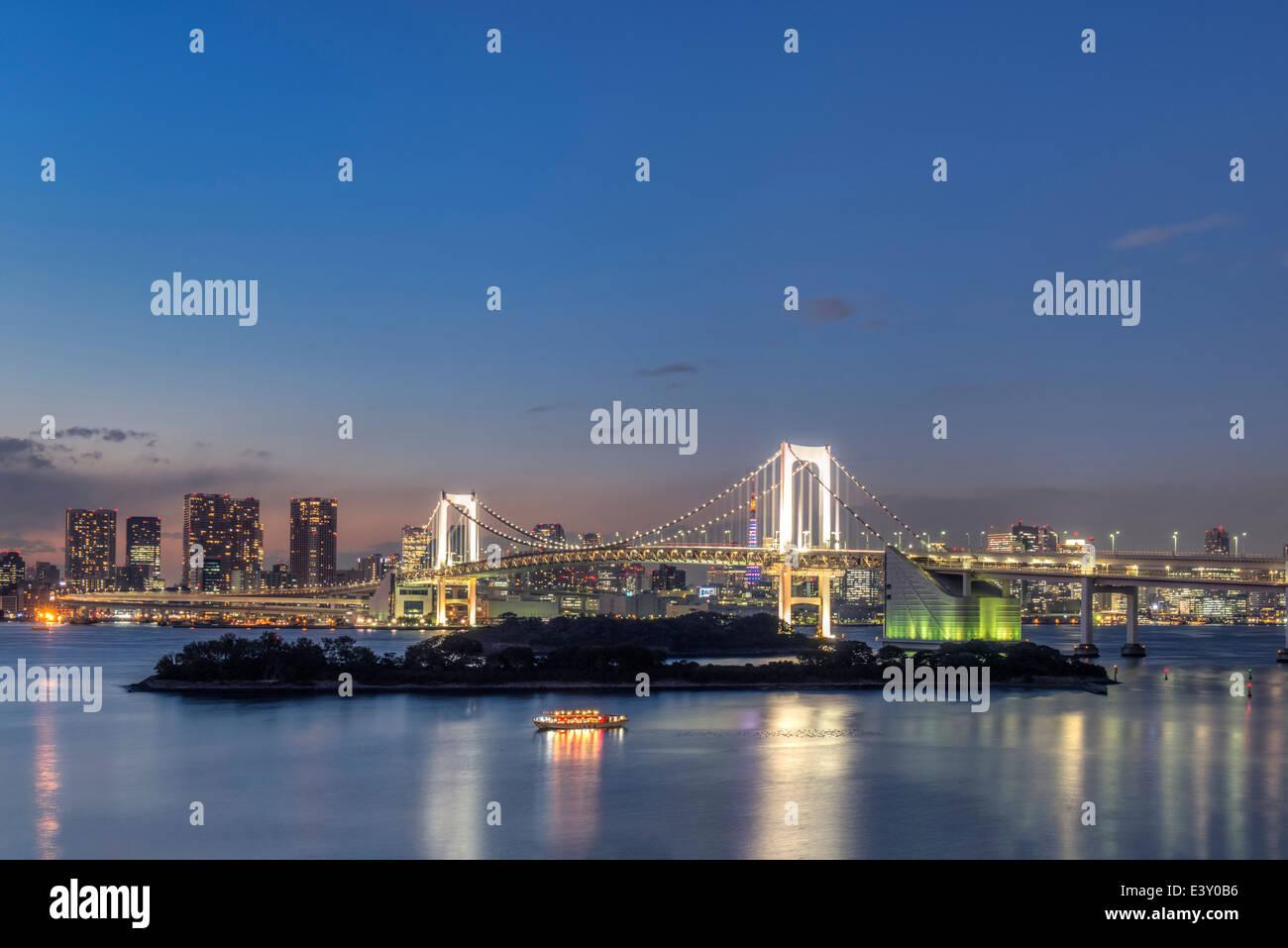 Tokyo city skyline lit up at night, Tokyo, Japan - Stock Image