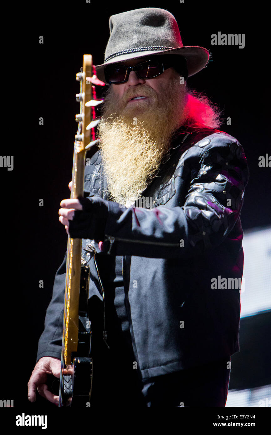 Milan Italy. 30th June 2014. The American Texas blues band ZZ TOP performs live at Ippodromo del Galoppo during - Stock Image