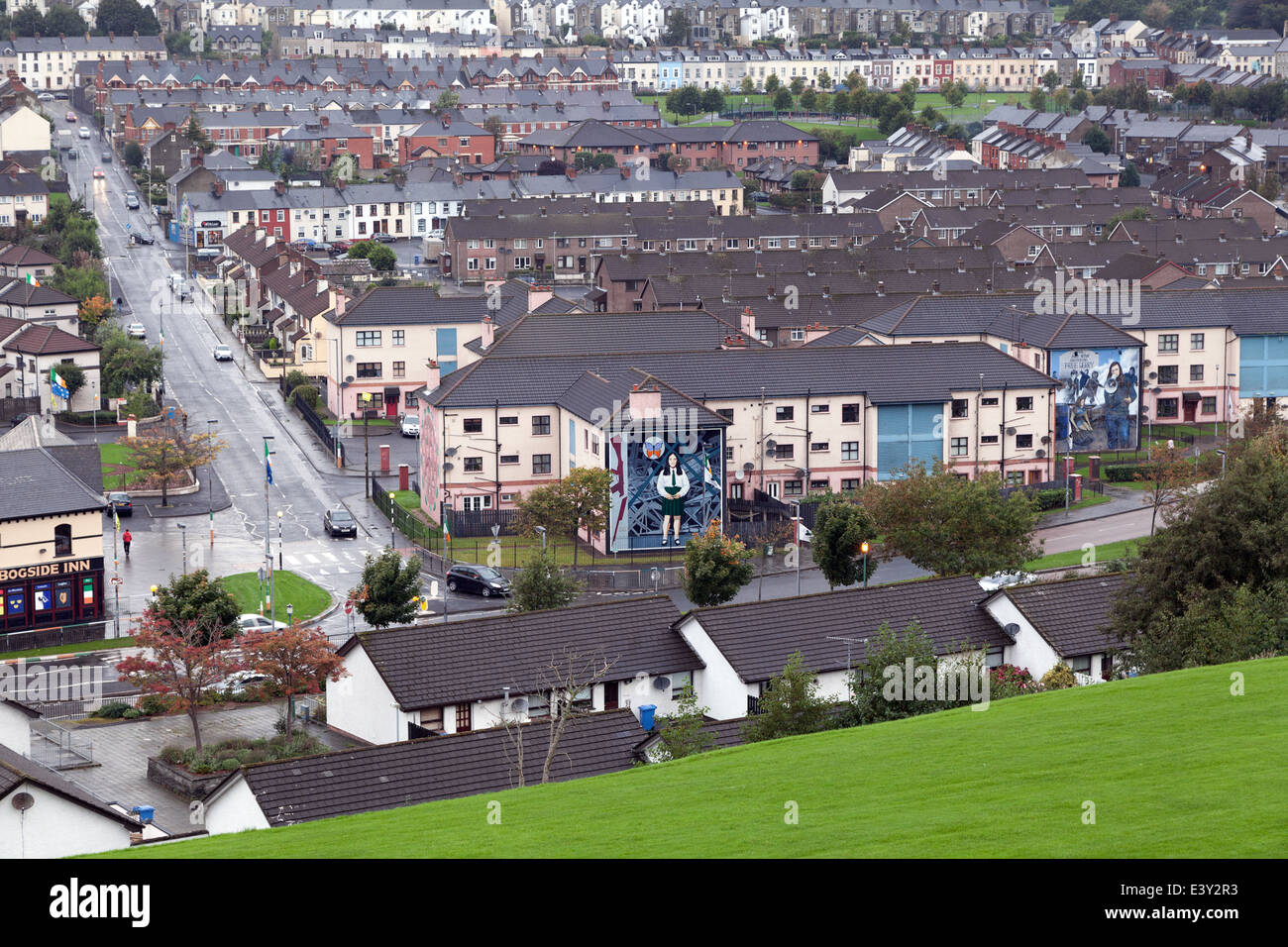 The Bogside neighborhood in Derry, Northern Ireland - Stock Image