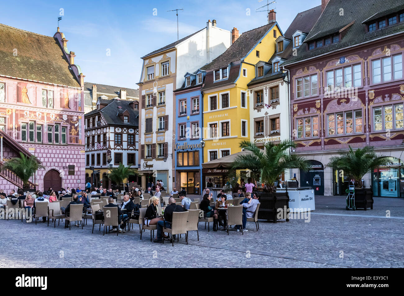 cafe terrace and ancient houses place de la reunion square mulhouse stock photo 71280833 alamy. Black Bedroom Furniture Sets. Home Design Ideas