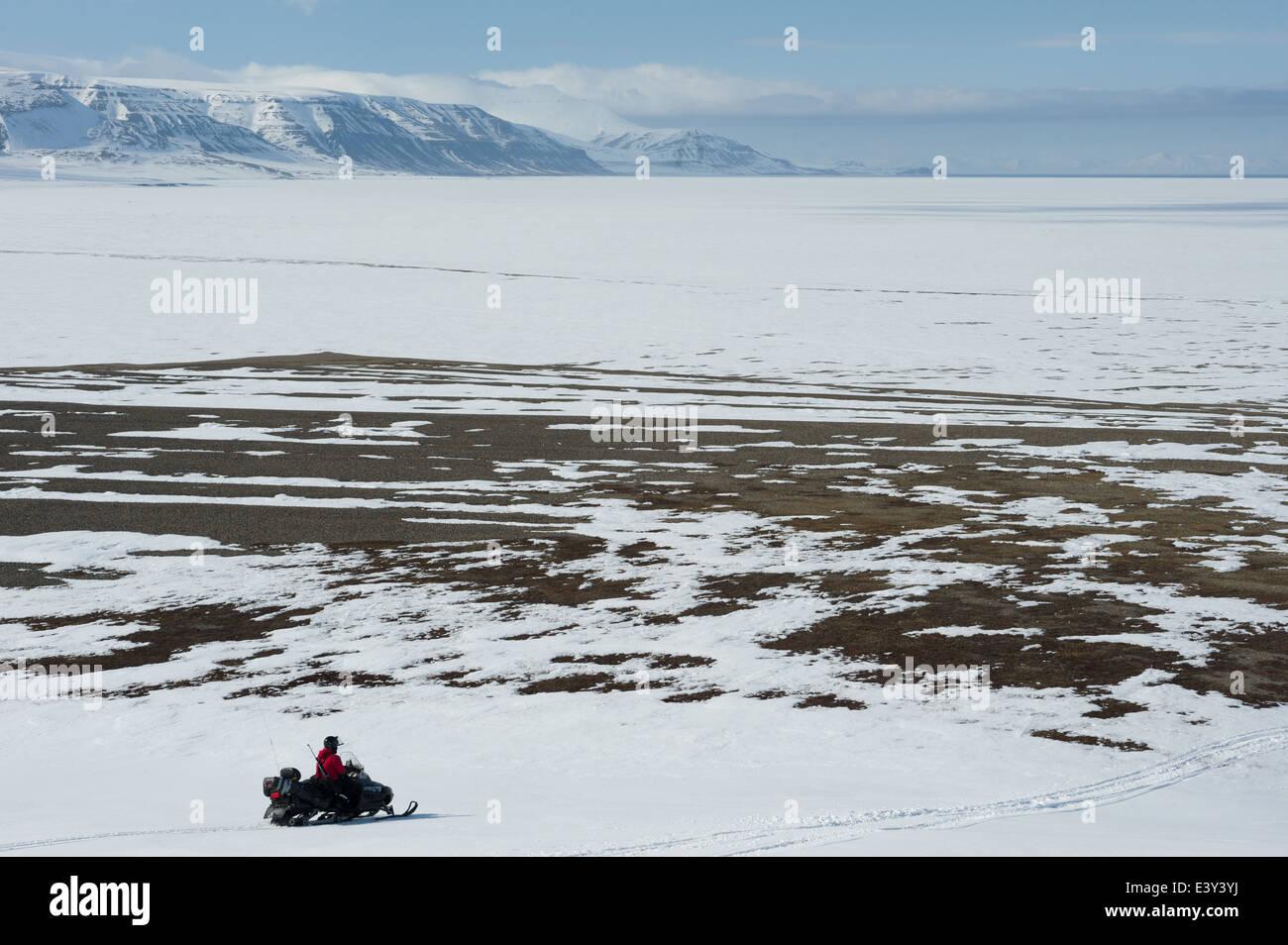 Guide riding a snowmobile in Sassendalen, near Temple Fjord (Tempelfjorden), Spitsbergen, Svalbard Archipelago, - Stock Image