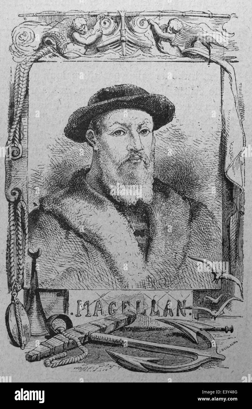 Ferdinand Magellan (1480-1521). Portuguese explorer. Led first expedition to circumnavigate the globe. Engraving. - Stock Image