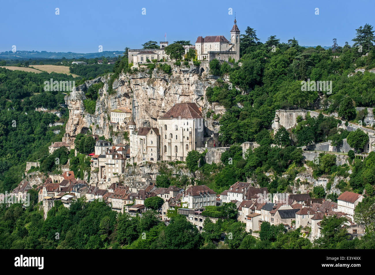 View over Rocamadour, Episcopal city and sanctuary of the Blessed Virgin Mary, Lot, Midi-Pyrénées, France - Stock Image