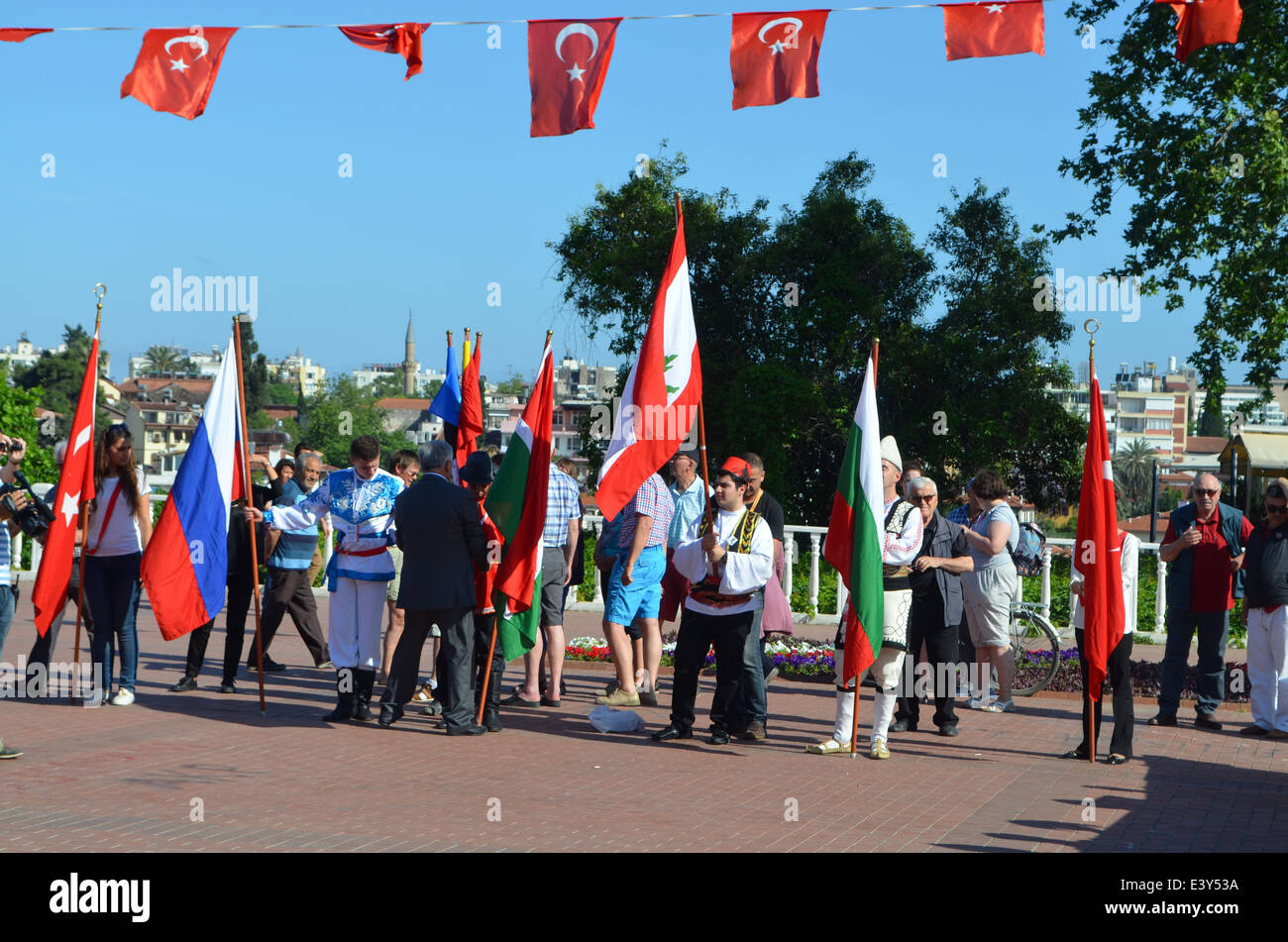 Antalya,Turkey , Between the Mediterranean Sea and the Taurus mountains. An anniversary parade assembles.. - Stock Image