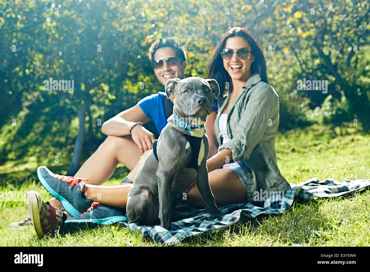 Portrait of couple and dog sitting on picnic blanket in park - Stock Image