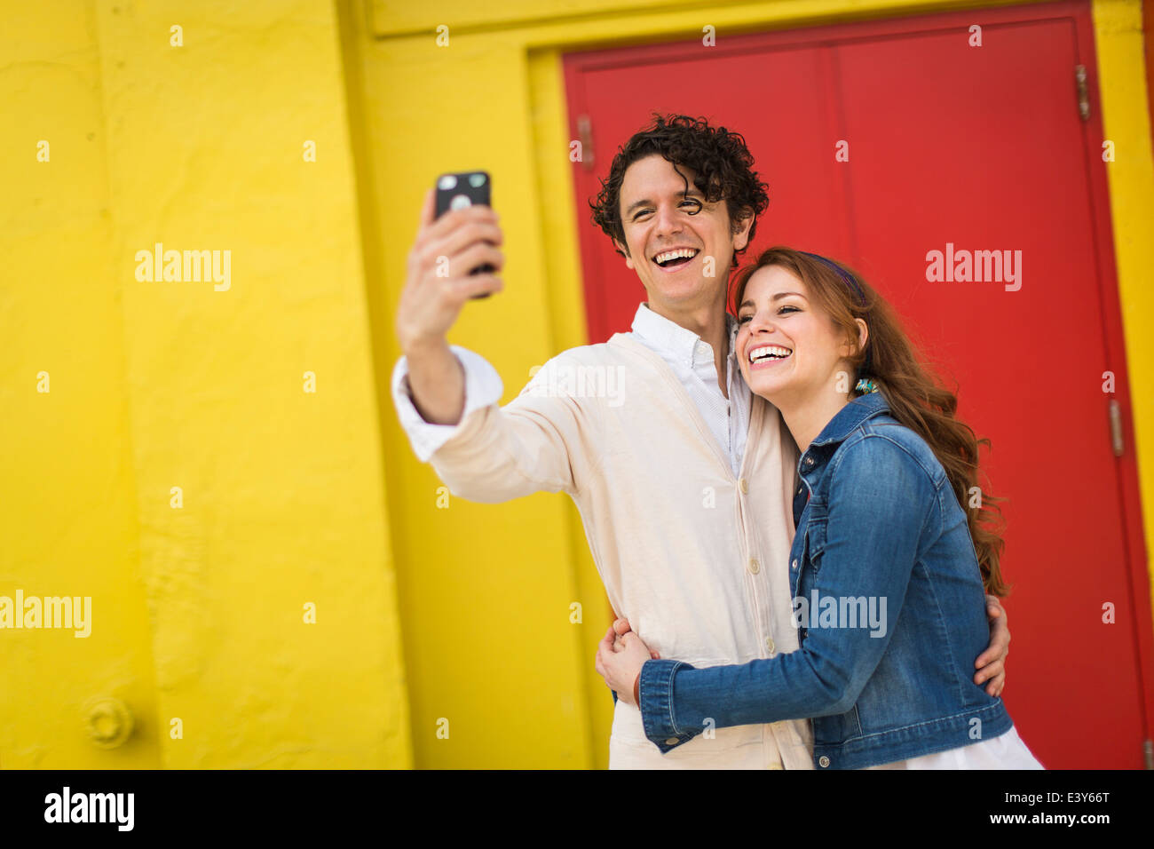 Couple taking selfie on smartphone Stock Photo