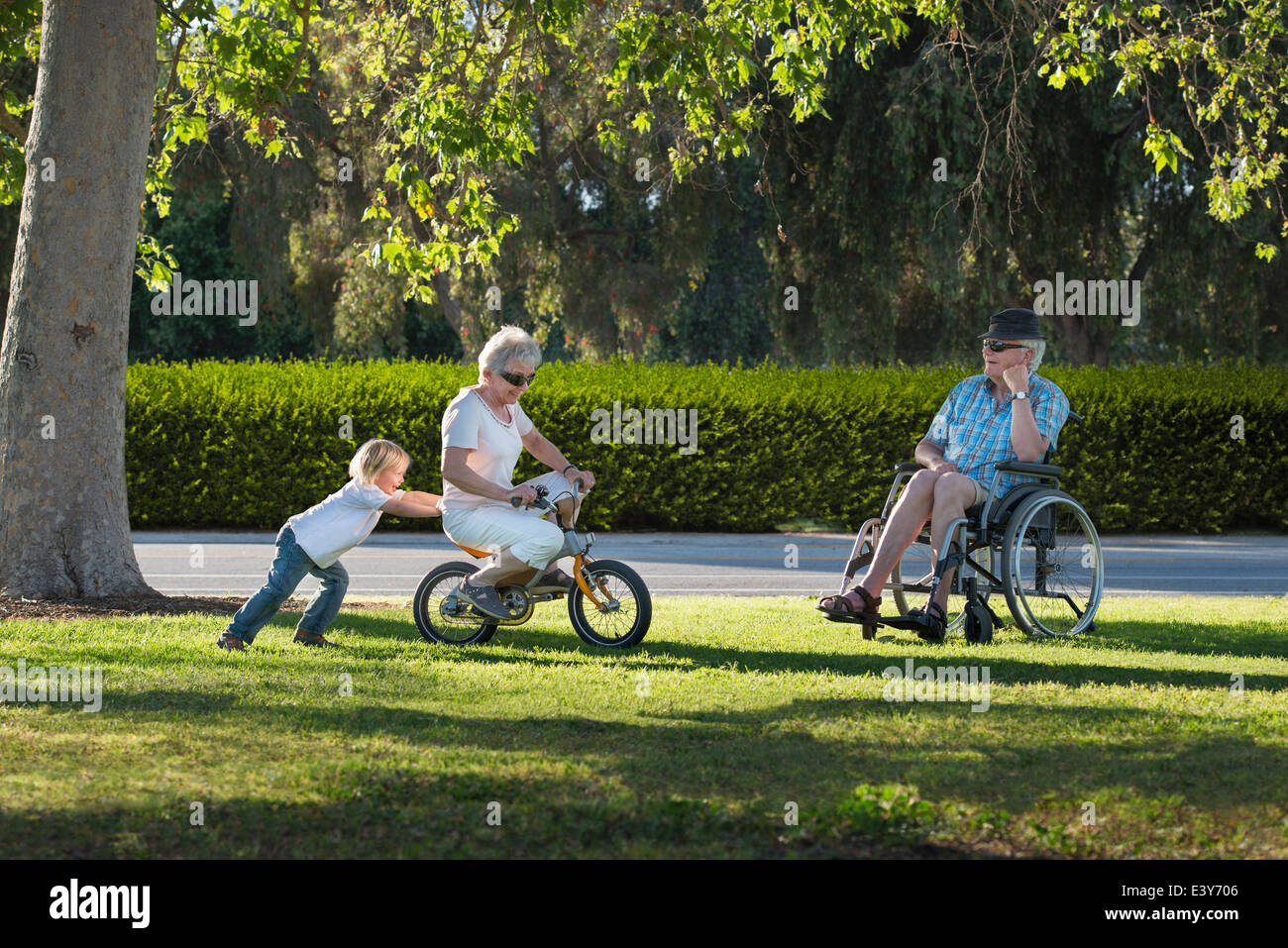 Three year old boy pushing grandmother on cycle with grandfather watching from wheelchair - Stock Image