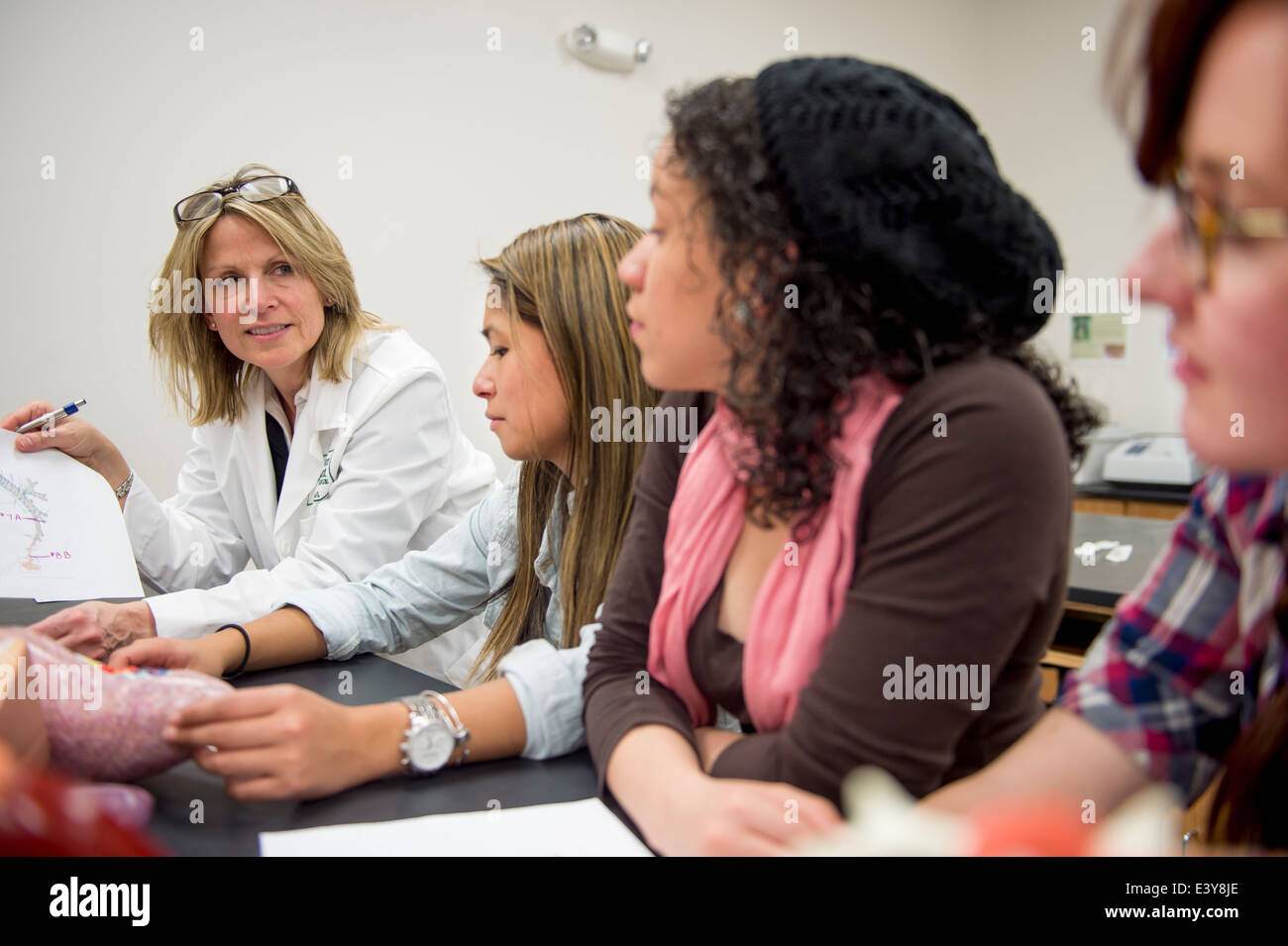 Biology students in classroom with teacher - Stock Image