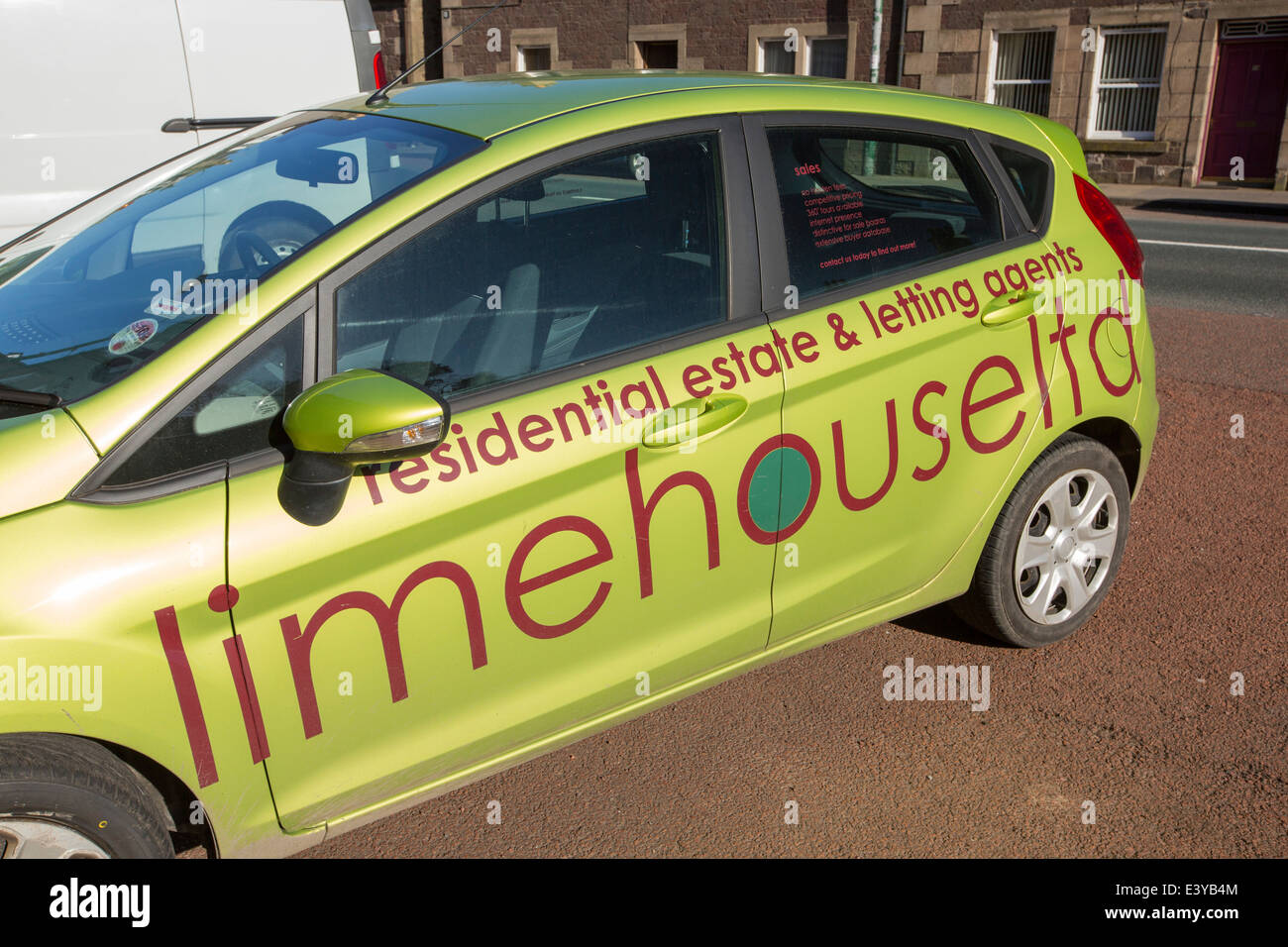 A car belonging to a letting agency in Biggar, Scotland, UK. - Stock Image