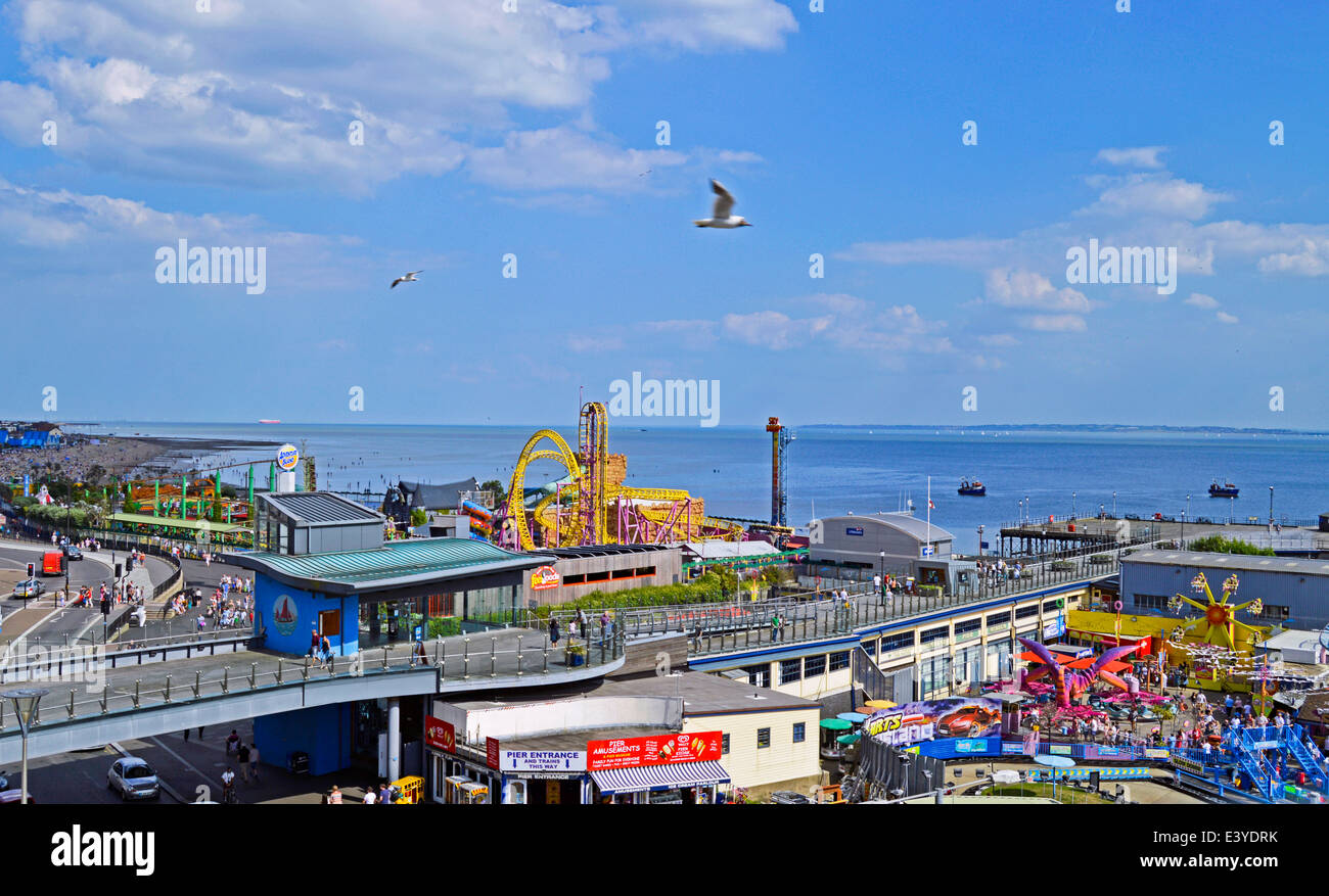 Aerial view showing Southend Pier, Southend-on-Sea, Essex, England, United Kingdom - Stock Image