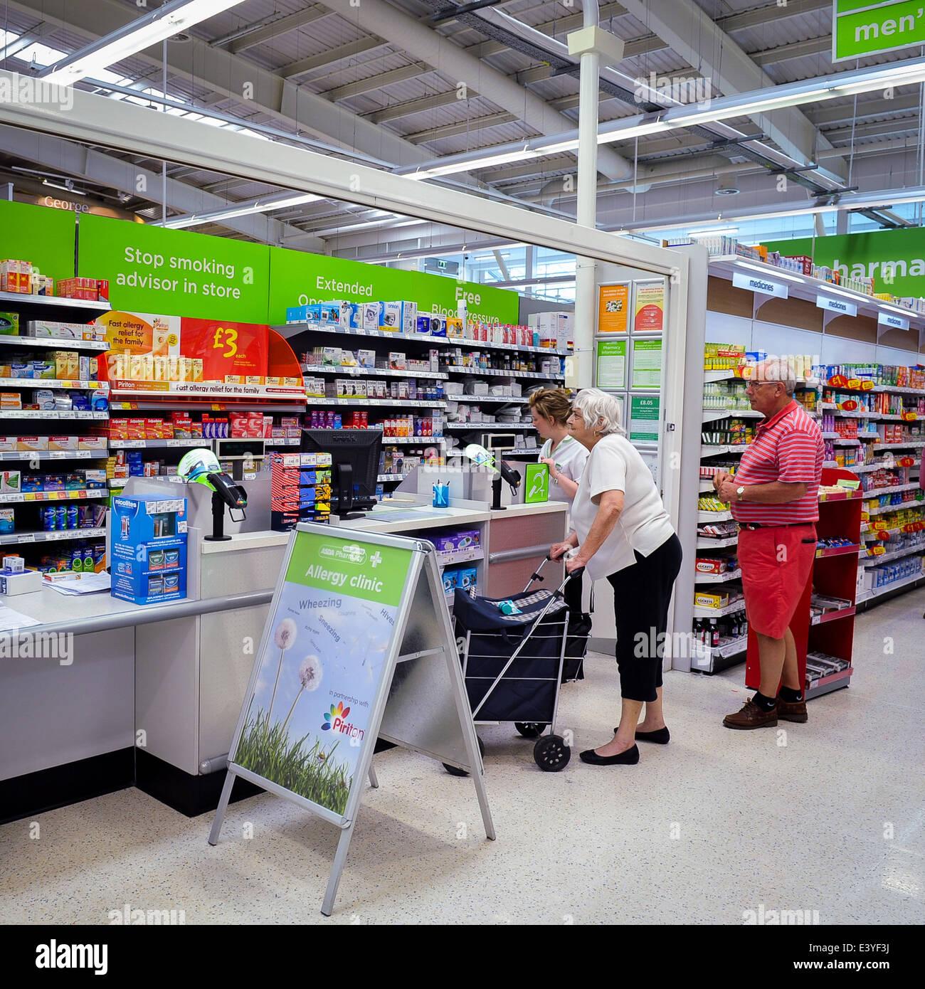 pharmacy in ASDA supermarket, UK - Stock Image