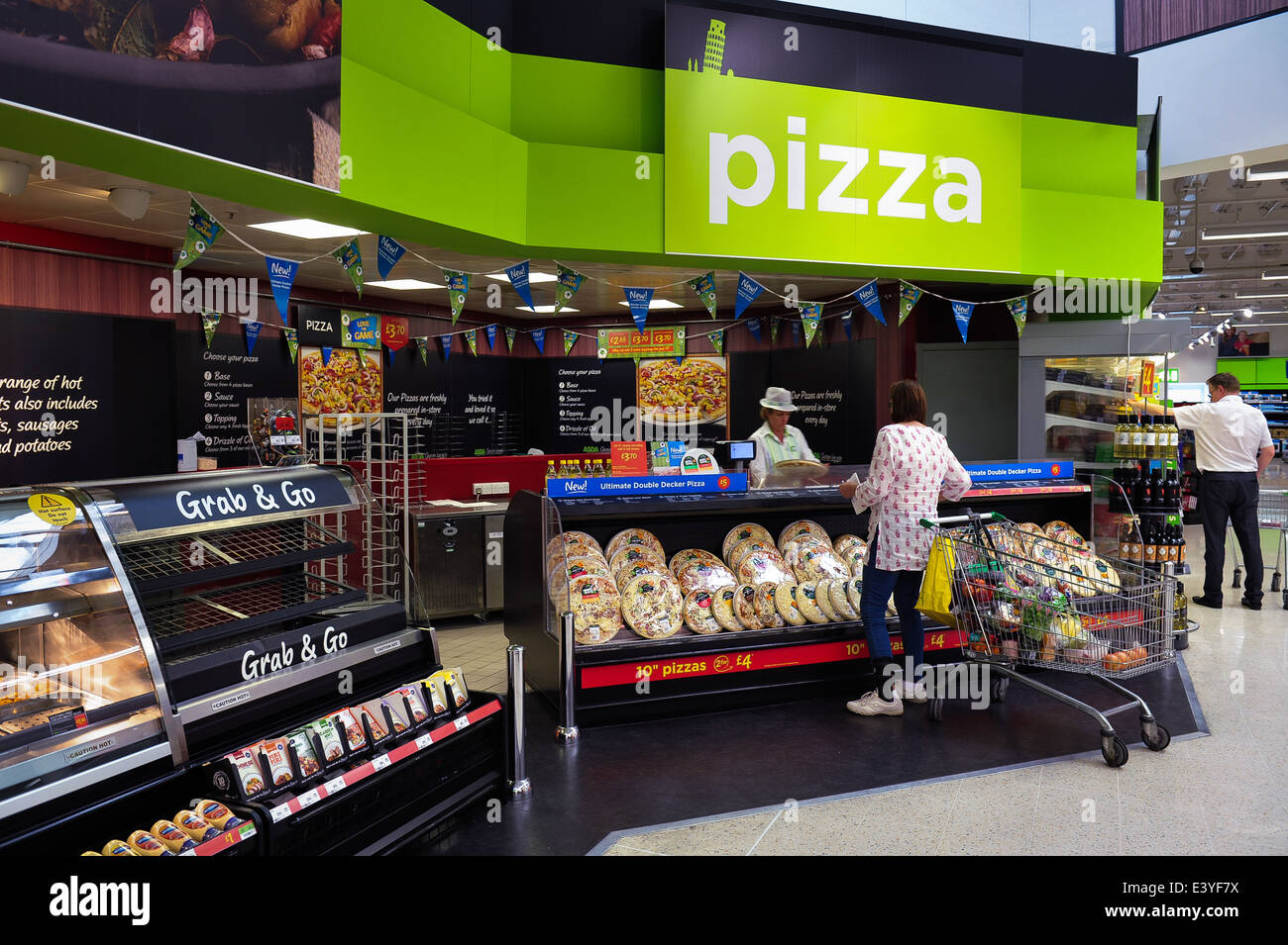 Shopper At Pizza Section Asda Supermarket Interior 2014