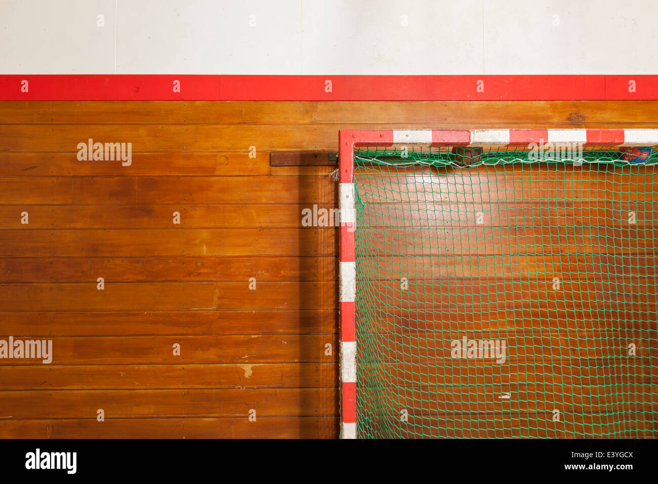 Vintage style goalpost in old gym - Stock Image