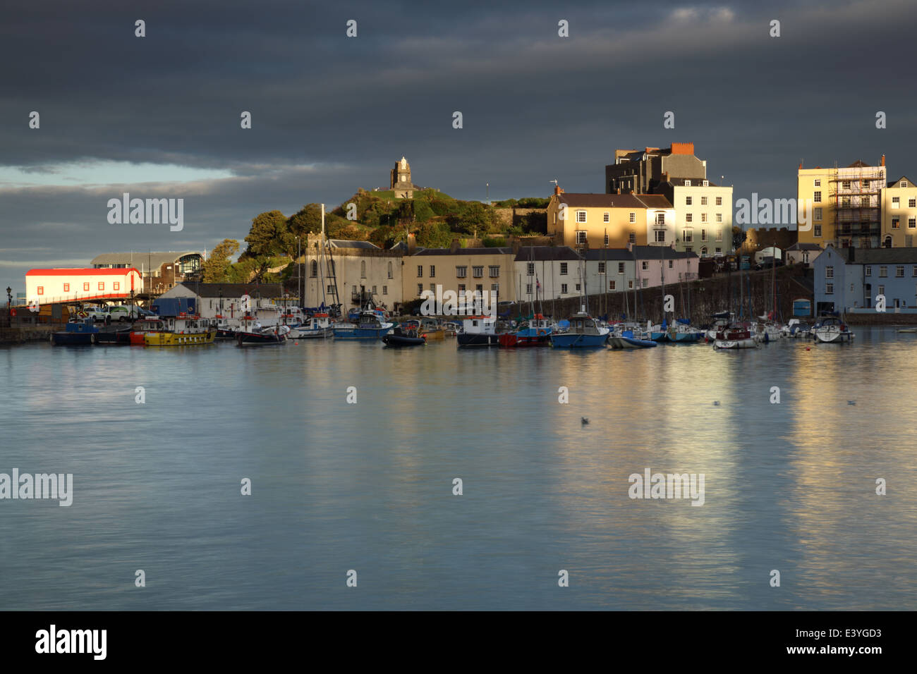 Tenby Harbour at sunset, West Wales, Pembrokeshire, UK. Stock Photo