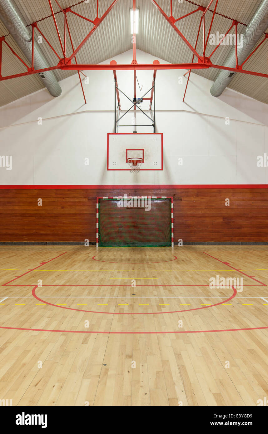 View from center court in old gym - Stock Image
