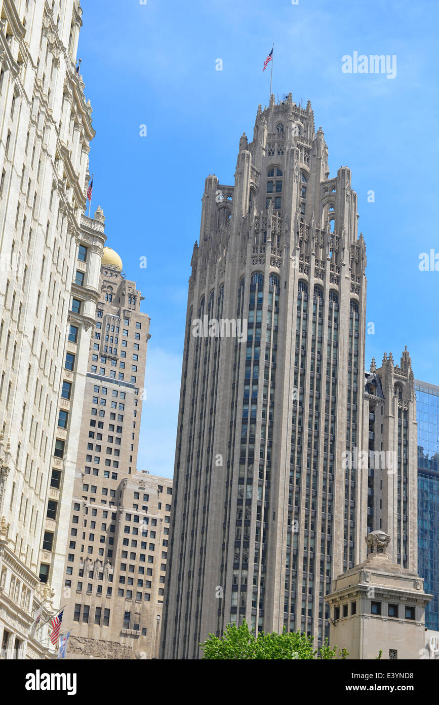 Tribune Tower, Chicago, Illinois - Stock Image