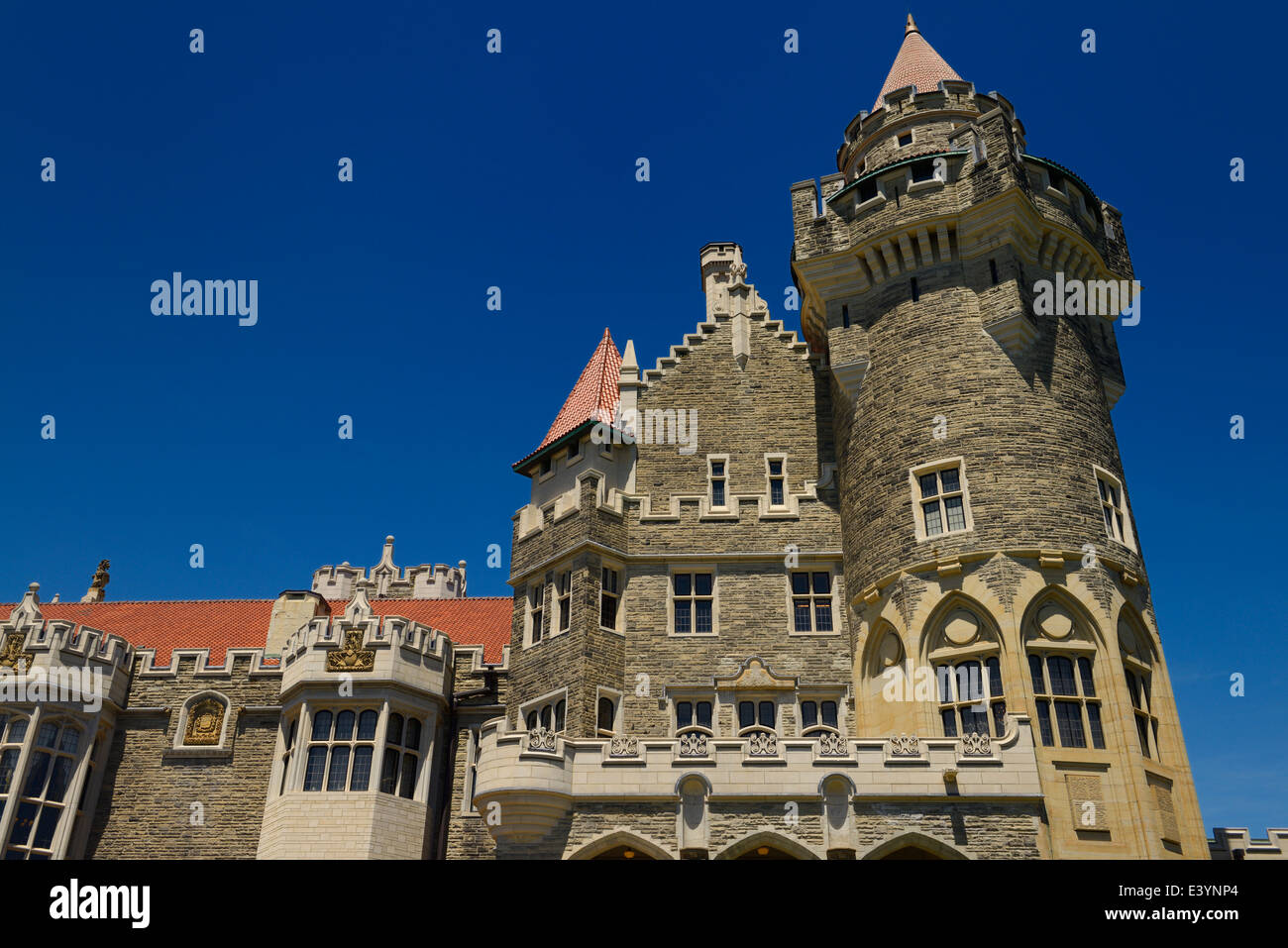 Detail Of Tower Gothic Revival Casa Loma Castle Museum Lankmark In Toronto With Blue Sky
