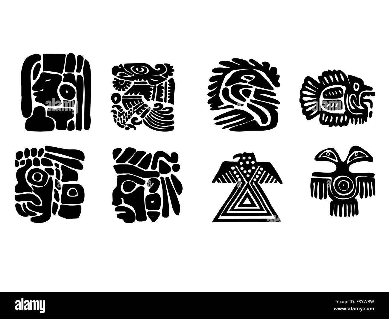 Maya patterns made on the basis of reliefs and sculptures. Human faces, birds, fish and animals. Elements of floral Stock Photo