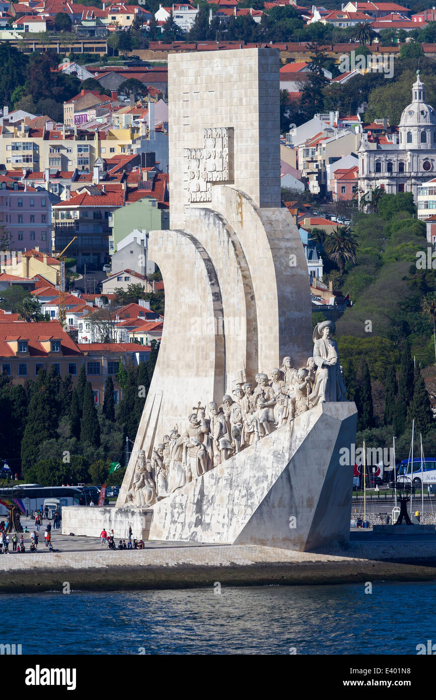 Monument to the Discoveries on the river Tagus Lisbon Portugal, - Stock Image