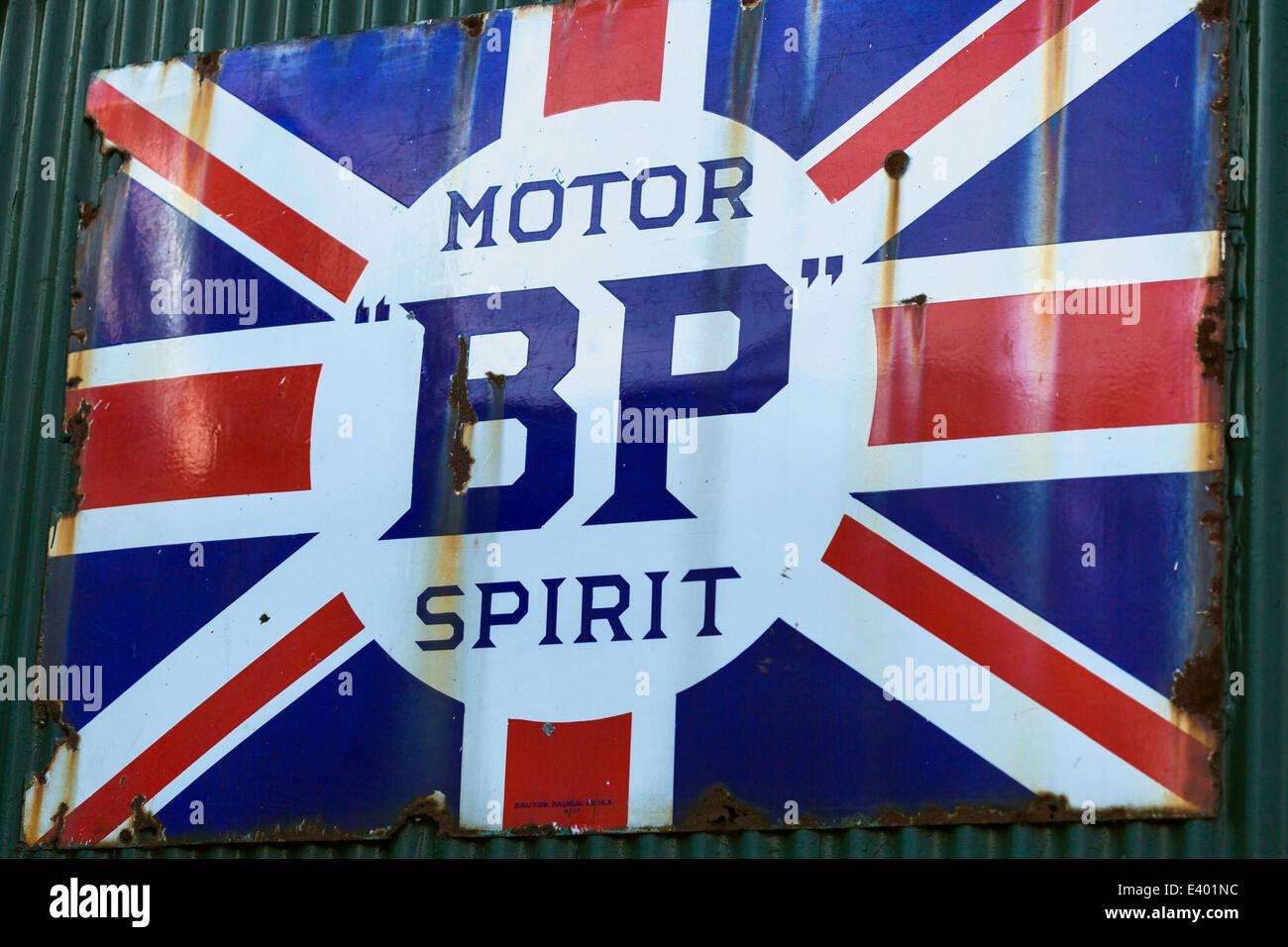 Old BP fuel sign. 1950s. Wroxham Norfolk England UK - Stock Image