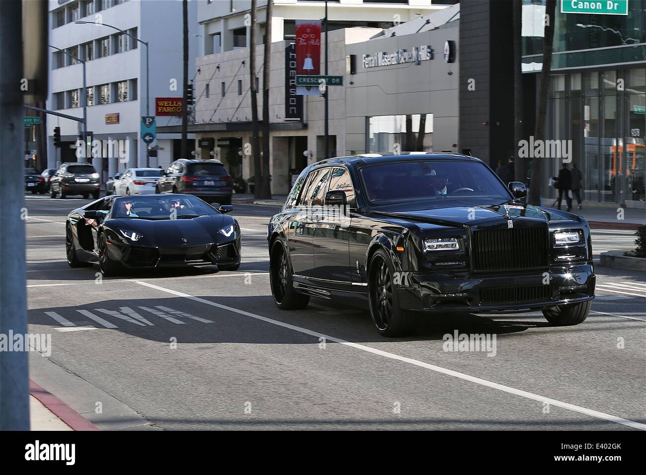 James Stunt Driving In His Black Lamborghini Aventador In Beverly Hills  Featuring: James Stunt Where