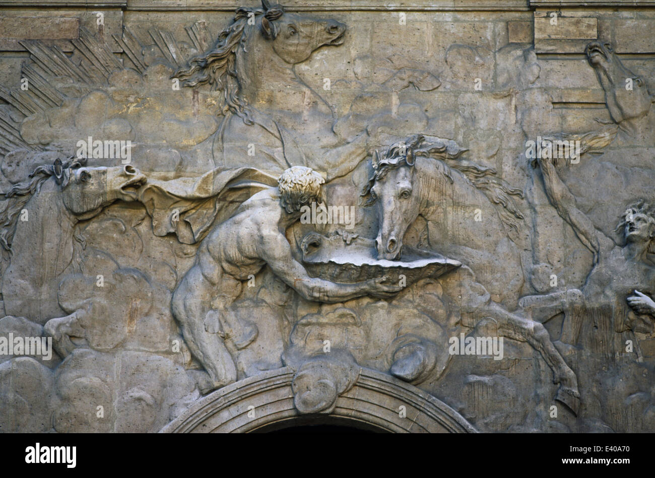 The Horses of the Sun by Robert Le Lorrain on the stable of the hôtel de Rohan in Paris - Stock Image