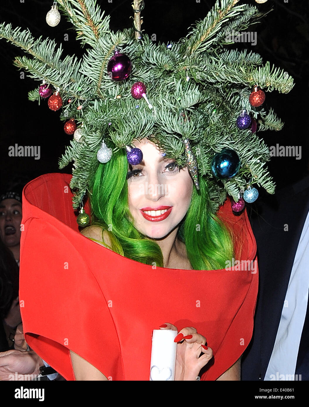 Lady Gaga Seen Arriving Back From Jingle Bell Ball Dressed As A Stock Photo Alamy