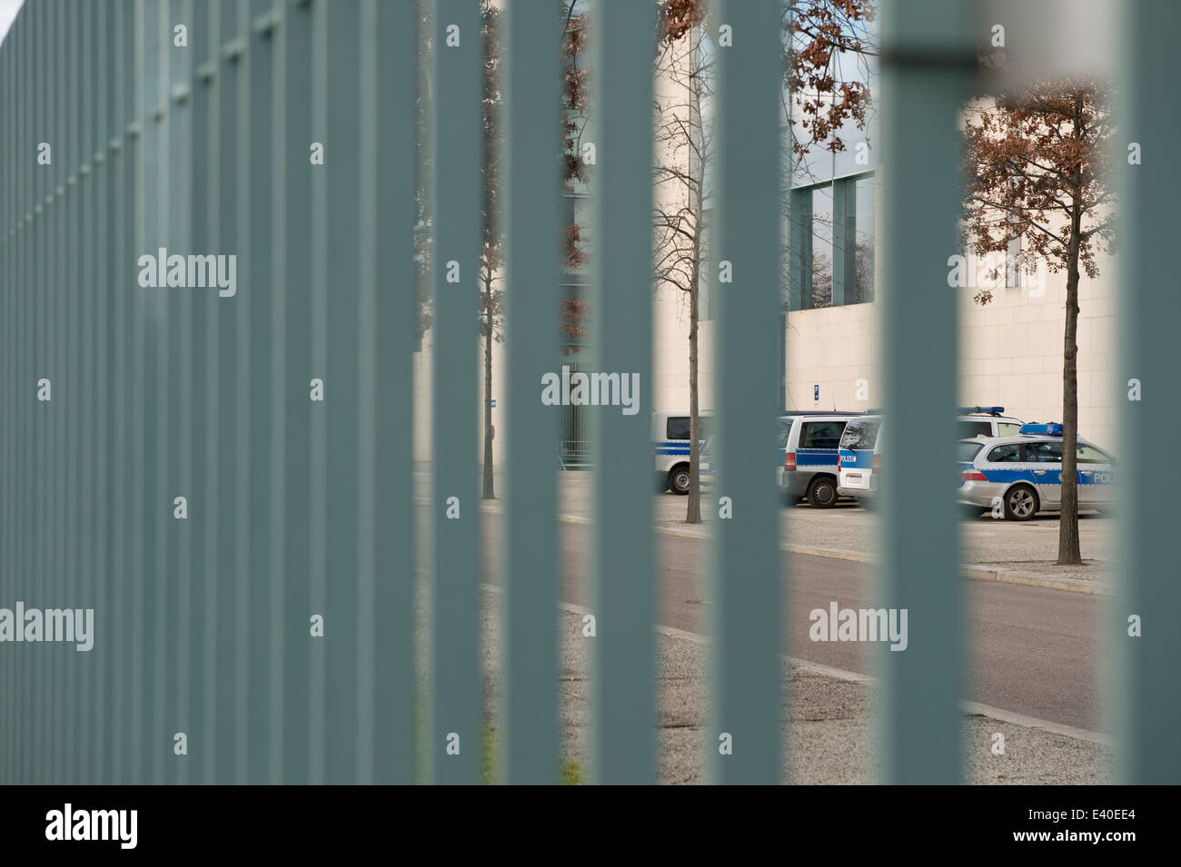 Germany, Berlin, police cars parking on closed area of chancellor's office - Stock Image
