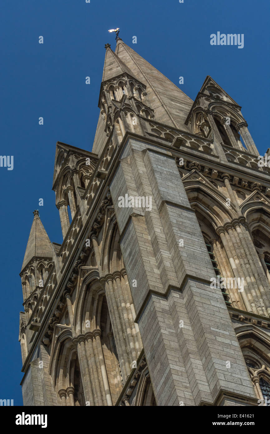 Masonry of Truro Cathedral [Cornwall] set against a blue, cloudless, summer sky. - Stock Image