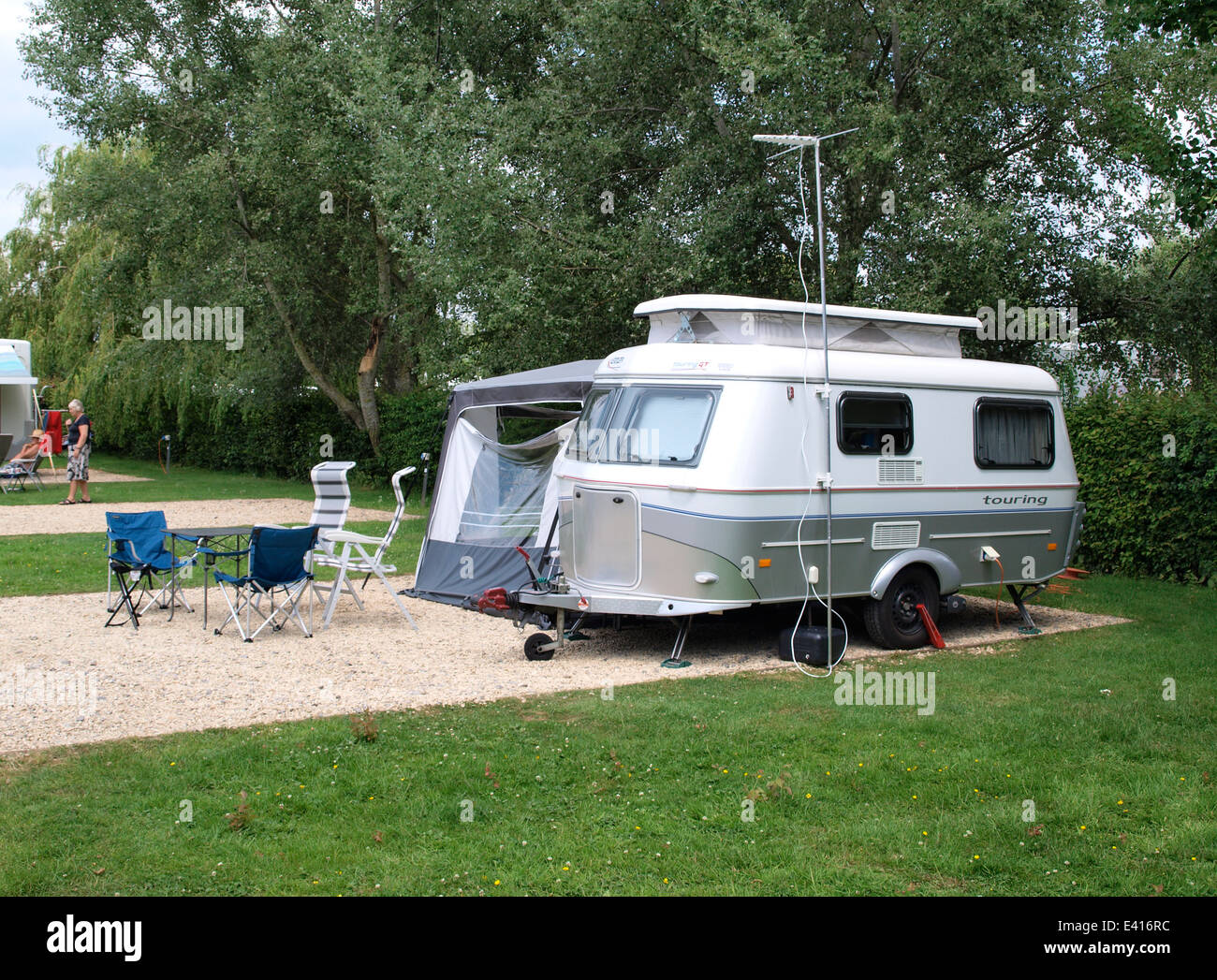 eriba touring gt caravan with a pop top roof wiltshire uk stock photo 71327408 alamy. Black Bedroom Furniture Sets. Home Design Ideas