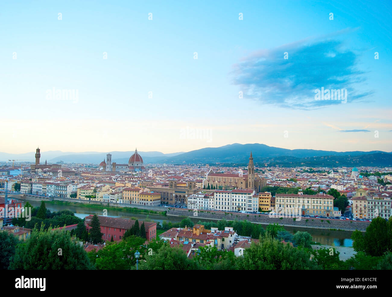 Italian Florence: Cityscape Of Florence At Dusk, View From Piazzale