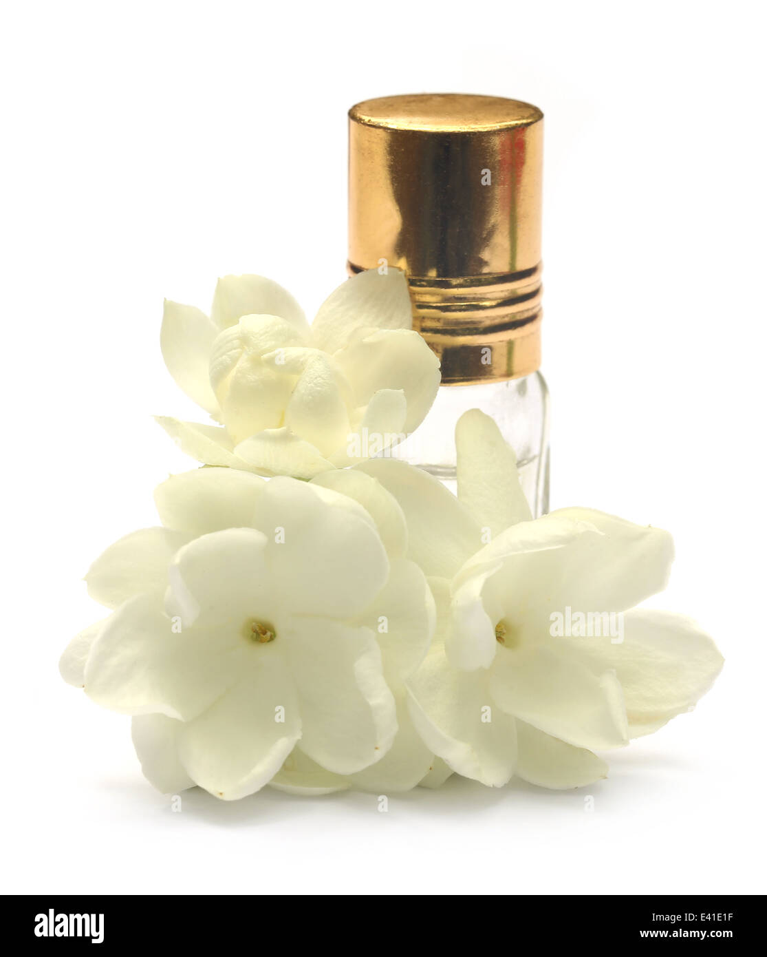 Perfume bottle jasmine flower stock photos perfume bottle jasmine jasmine flower with essence bottle over white background stock image izmirmasajfo