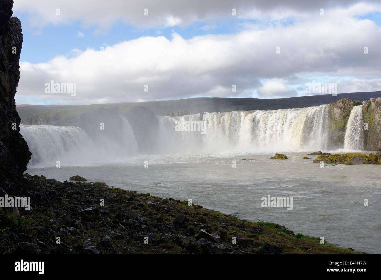 Godafoss, waterfall of the gods or godi, river Skjalfandafljot, Thingeyjarsveit, Myvatn district of North-Central - Stock Image