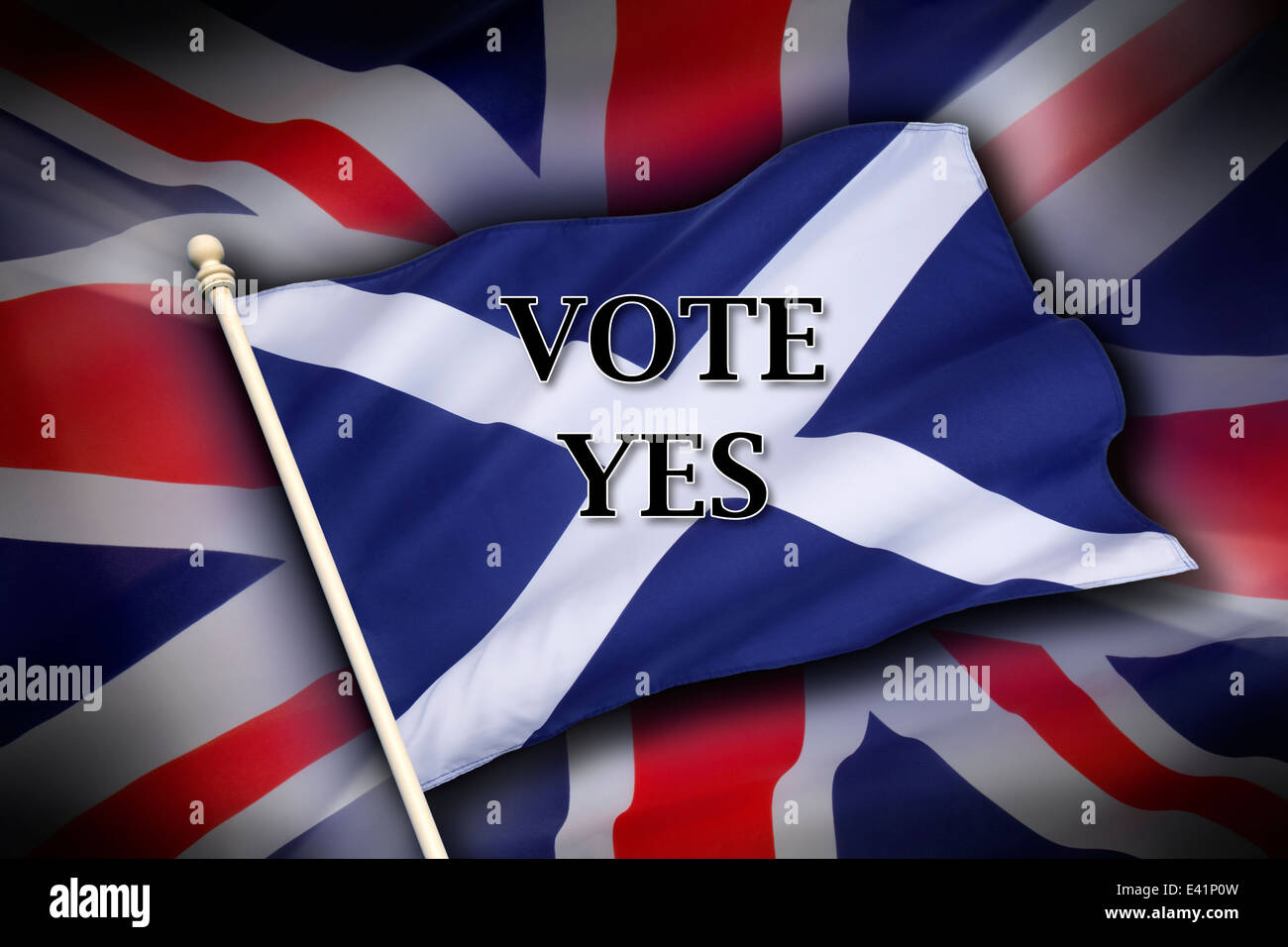 The flag of the United Kingdom (The Union Flag) and the flag of Scotland - Scottish Independence - Vote Yes - Stock Image