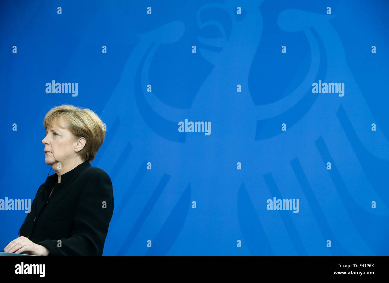 Berlin, Germany. 2nd July, 2014. German Chancellor Angela Merkel attends a press conference after a meeting with Stock Photo
