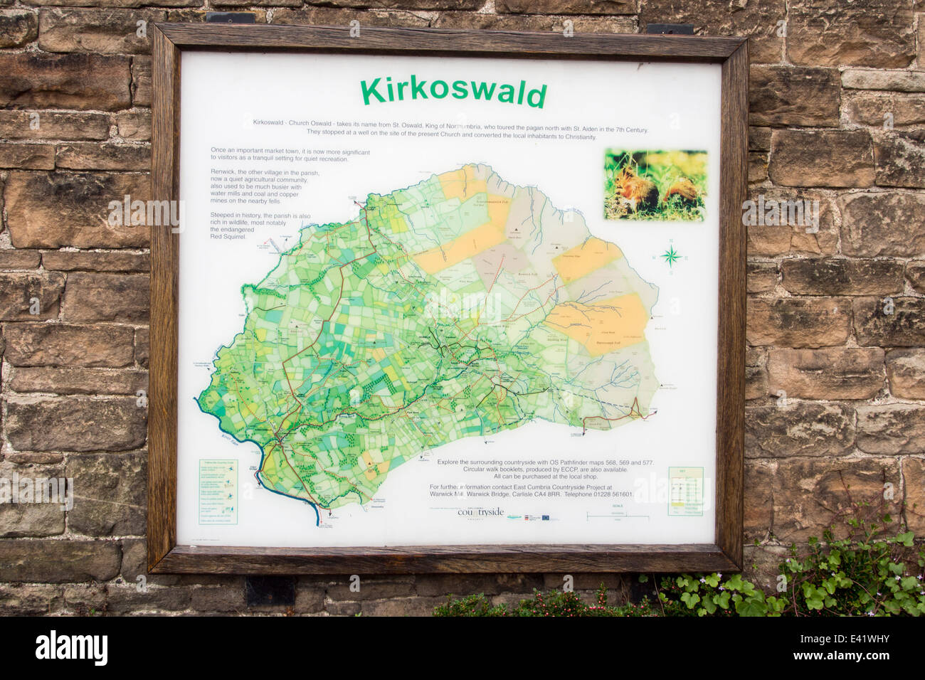 A map of Kirkoswold in the Eden Valley, Cumbria, - Stock Image