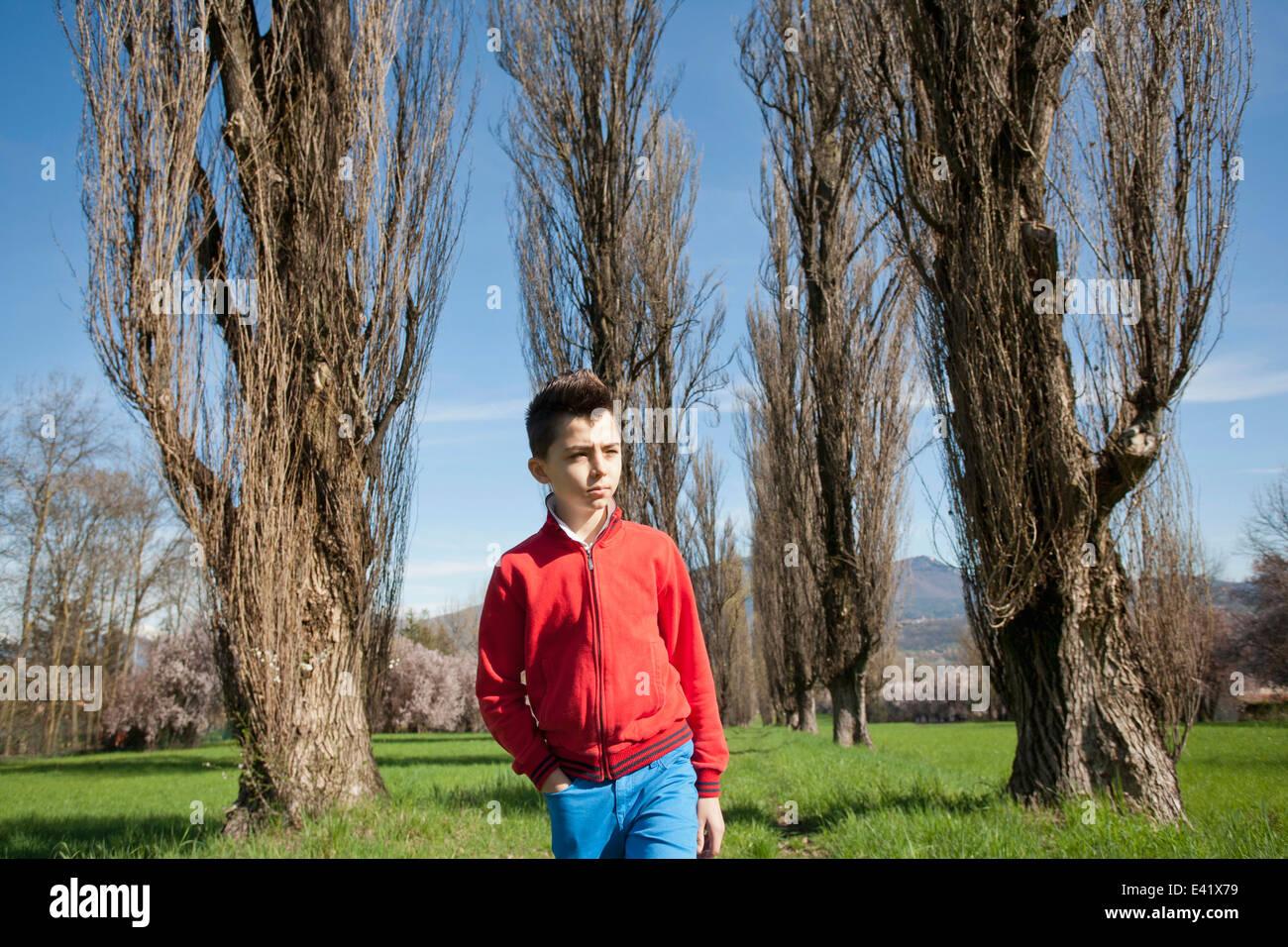Twelve year old boy strolling along tree lined field - Stock Image
